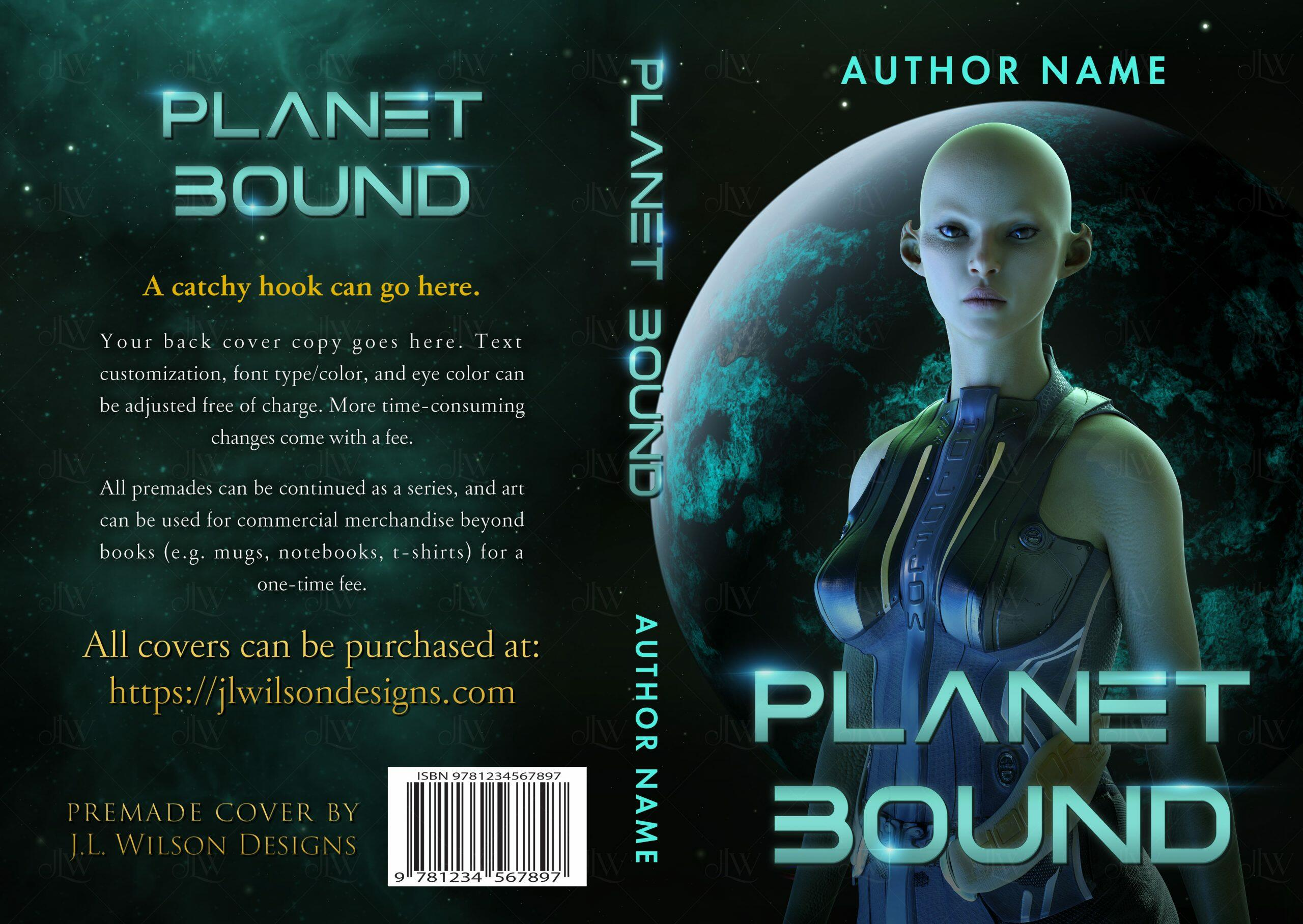 A science fiction book cover with an alien in front of a blue and green planet in space