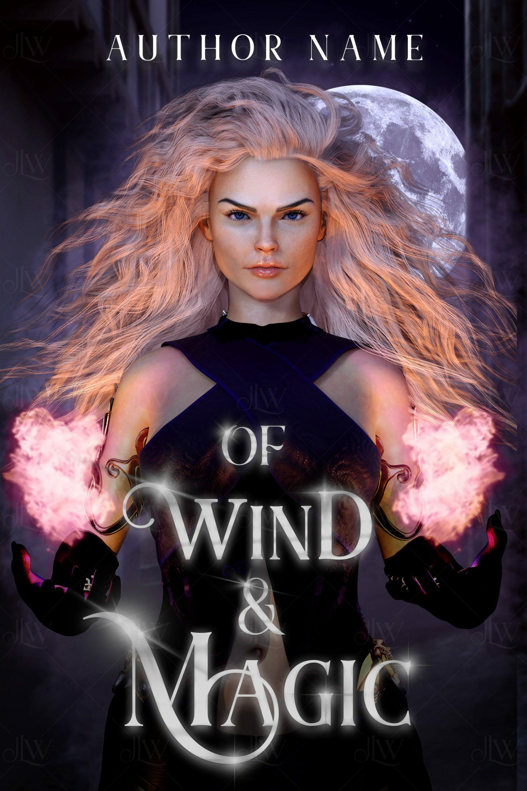 A fantasy book cover with a beautiful woman holding magic in a village