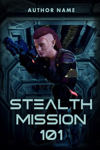 A science fiction book cover with a tough alien woman holding a gun on a futuristic spaceship