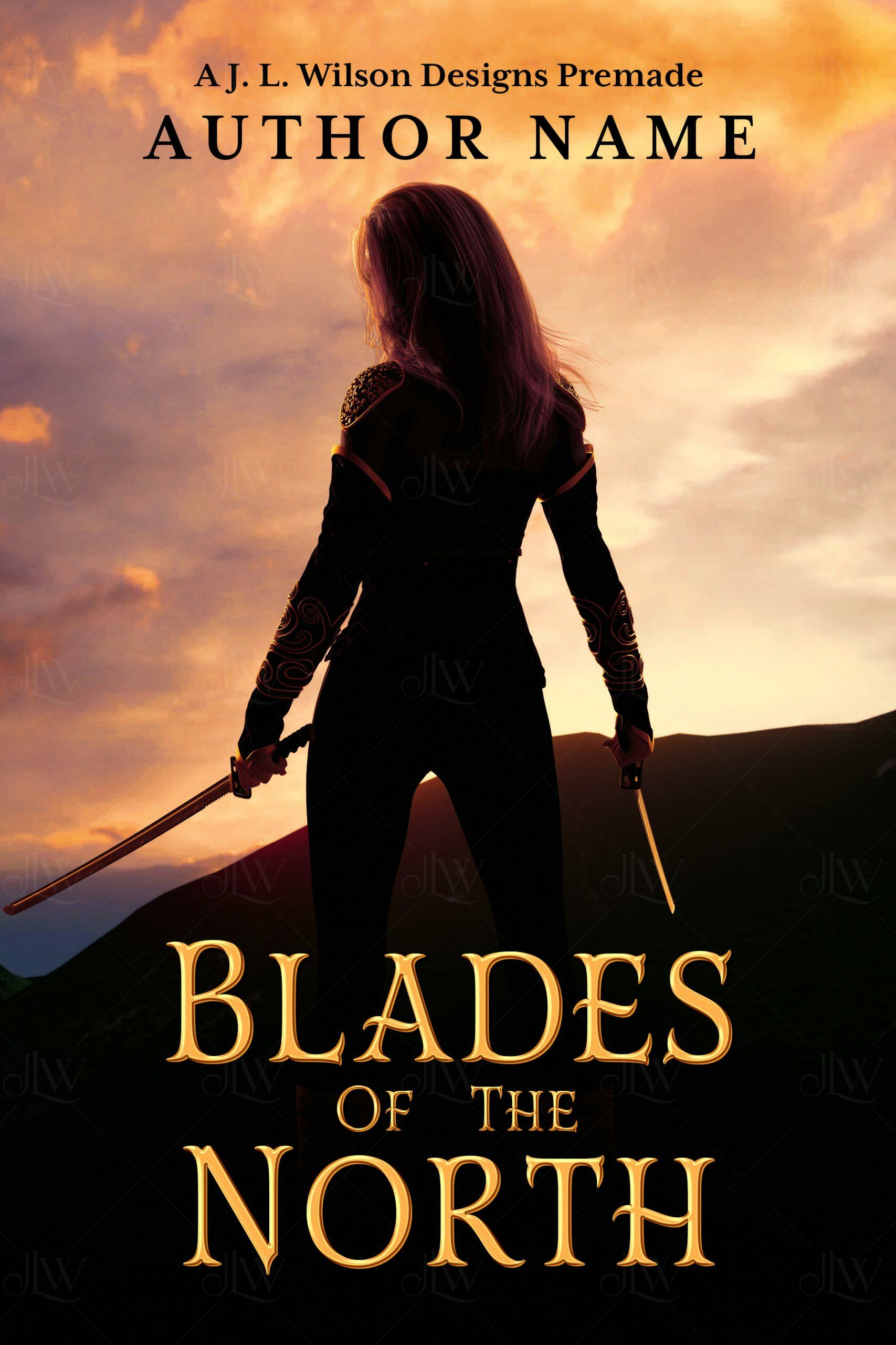 An epic fantasy book cover with a warrior woman holding swords at sunset against a mountain backdrop