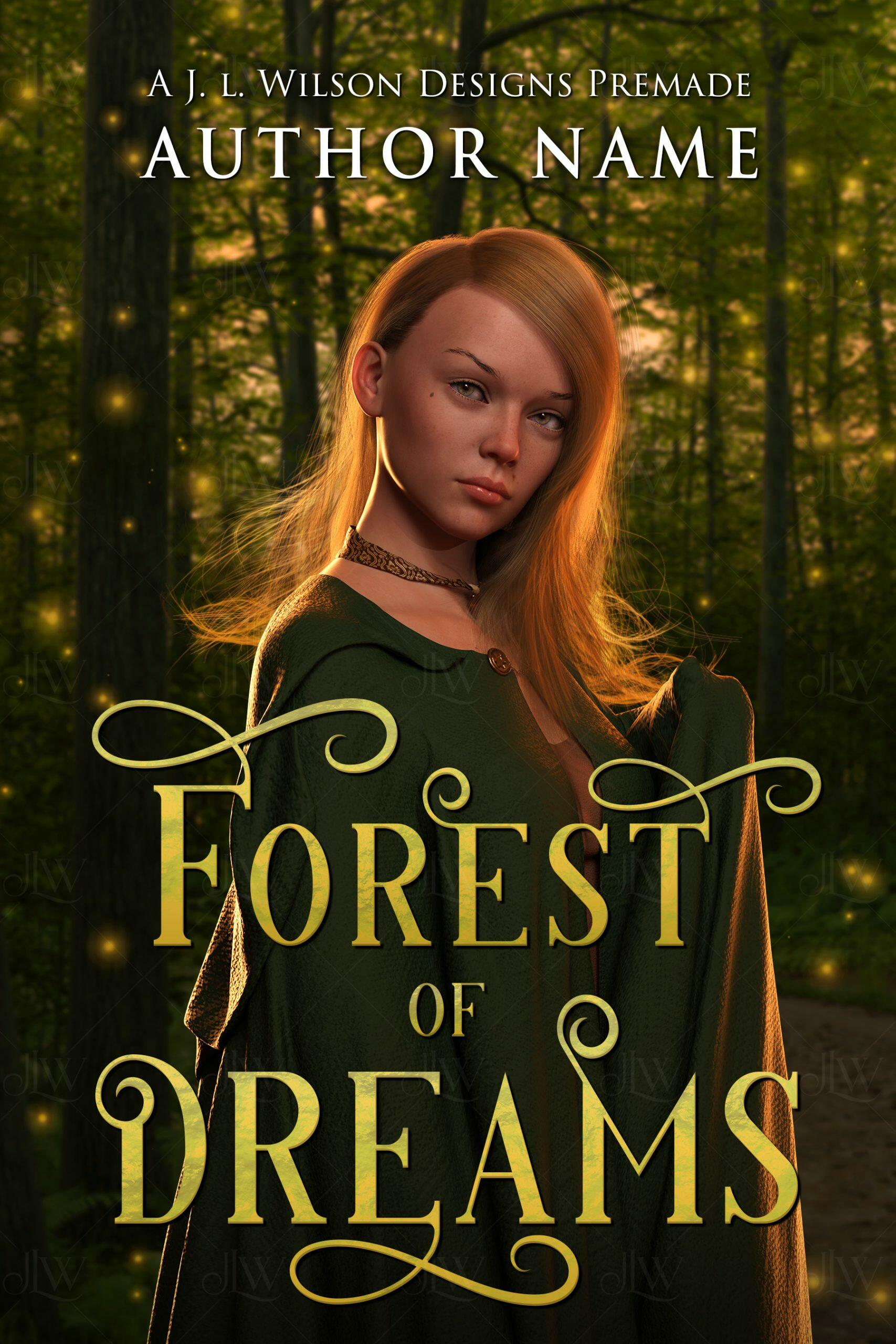 A fantasy book cover with a beautiful woman in a green cloak in a magical glowing forest