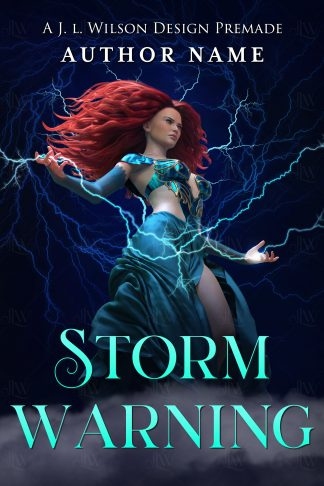 A fantasy book cover featuring a beautiful woman with long red hair in a flowing blue dress wielding lightning storm magic