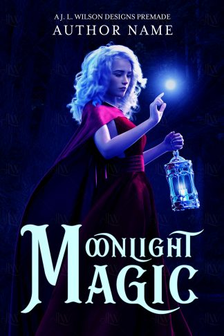 A fantasy book cover with a beautiful woman in a red dress following magic in a magical forest