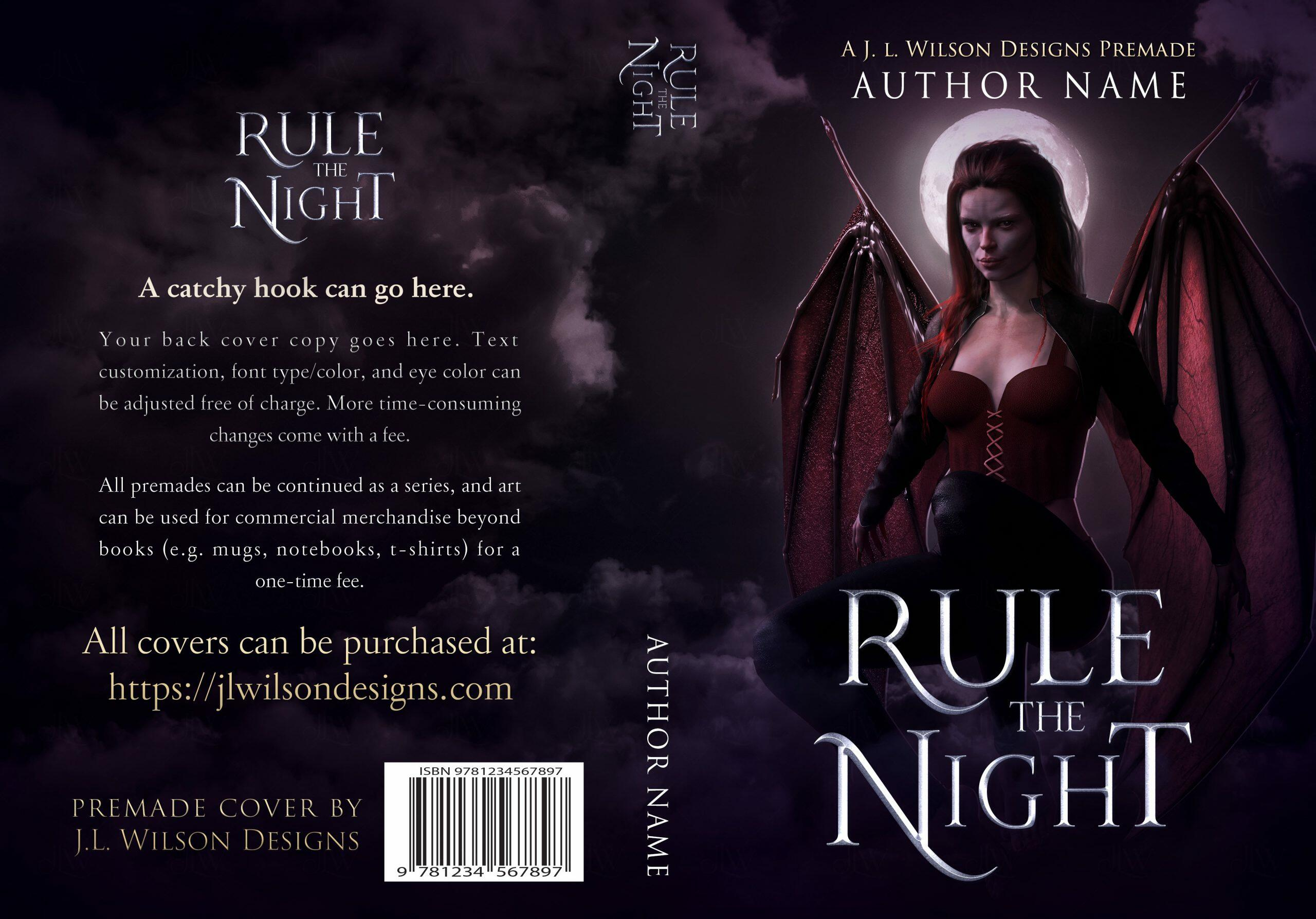 A dark fantasy book cover featuring a seductive demon woman with wings flying at night
