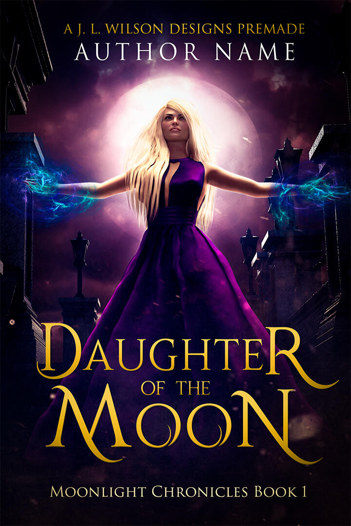A paranormal fantasy romance book cover with a beautiful blond woman in front of a mausoleum