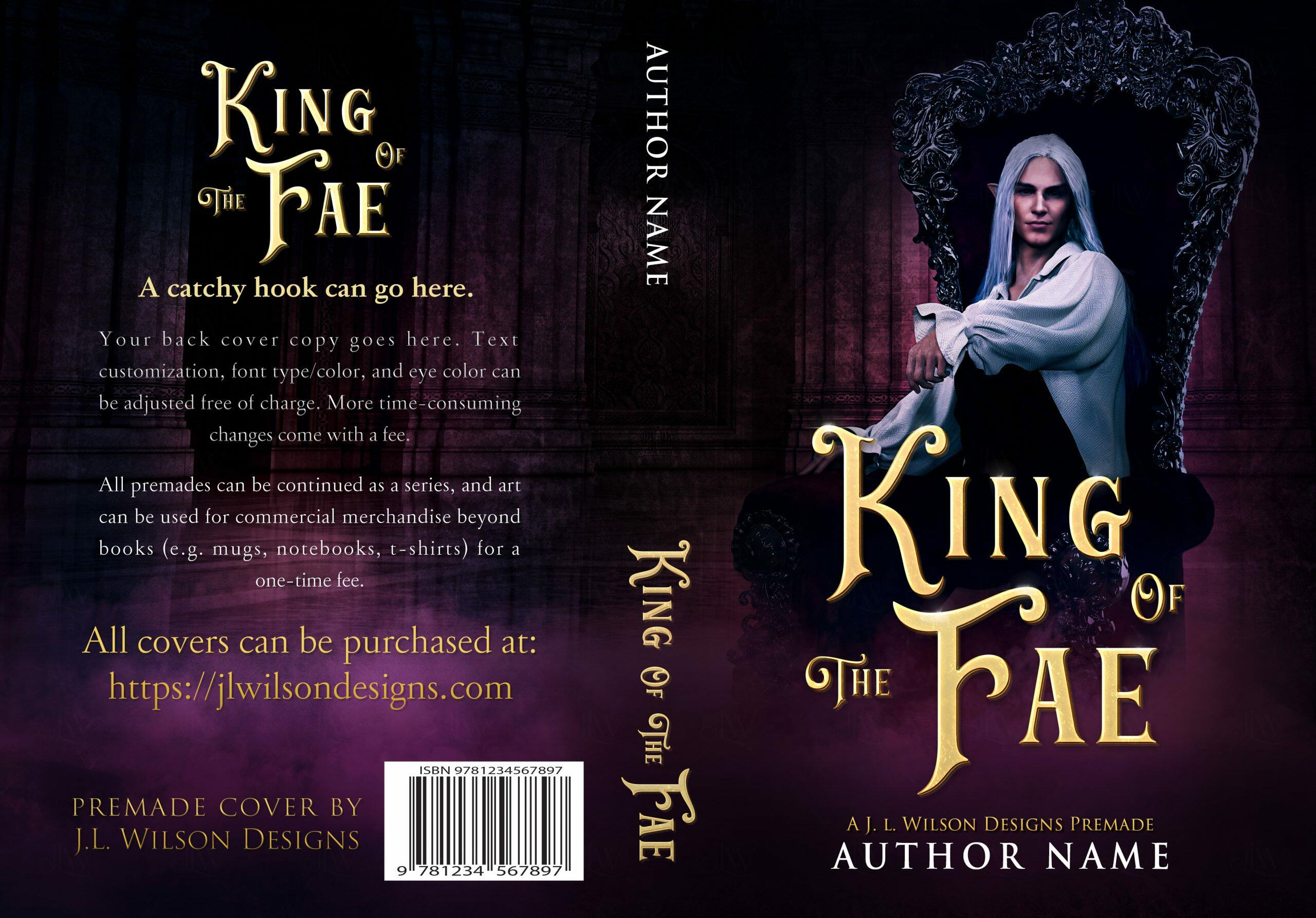 A dark fantasy book cover featuring a hot fae king on a throne in a castle.