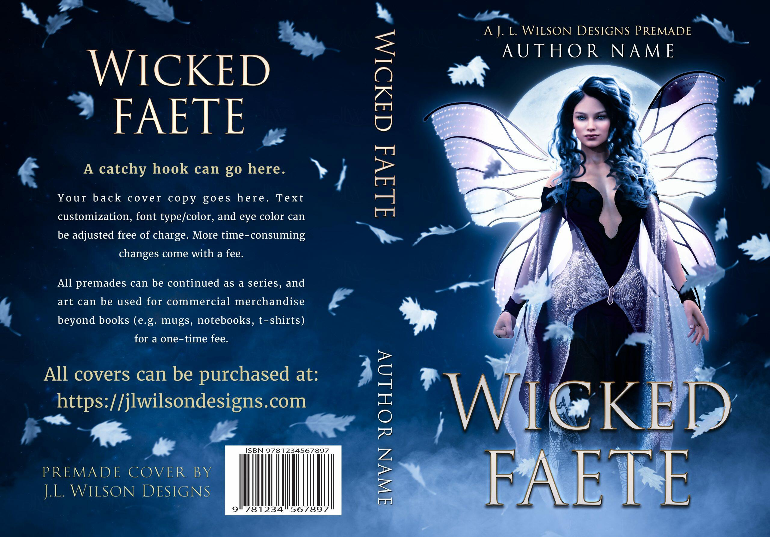 A dark fantasy book cover featuring a beautiful fae woman with fairy wings at night.