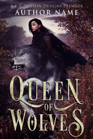 An epic fantasy book cover with a warrior queen riding a giant wolf in a wooded forest.