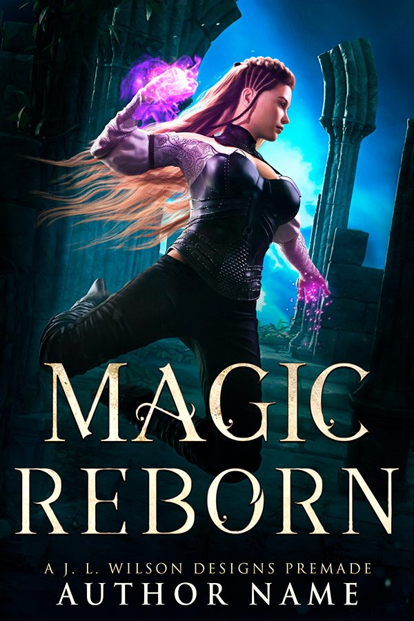 An epic fantasy book cover with a warrior girl wielding glowing purple magic among stone ruins