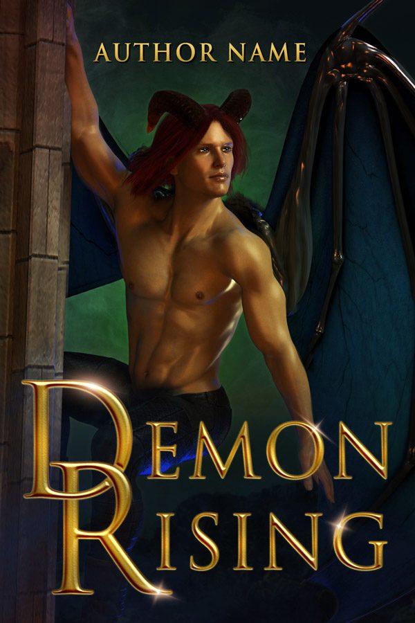 A romantic fantasy book cover with a sexy demon