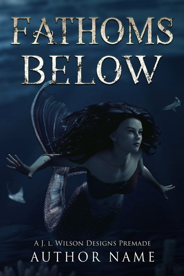 A fantasy book cover featuring a mermaid underwater framed by a stingray and a shark.