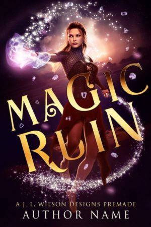 A fantasy book cover with a beautiful woman mage wielding magic against a purple and pink sky