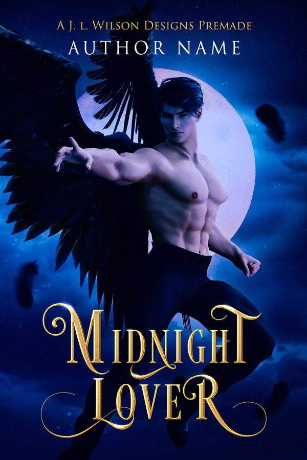 A fantasy romance angel book cover featuring a hot male angel with black wings flying at night