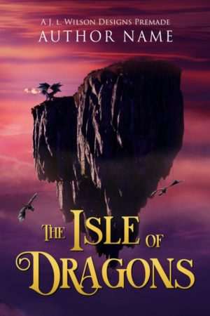 A fantasy book cover with a floating island of dragons against a pink and purple sky